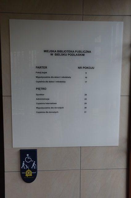 Tablica informacyjna - z napisami w alfabecie Braillea